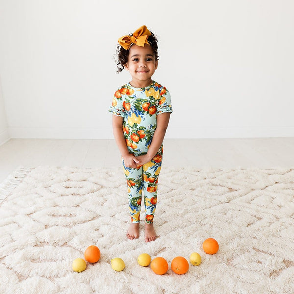 Toddler on Lucia Ruffled Short Sleeve Pajamas