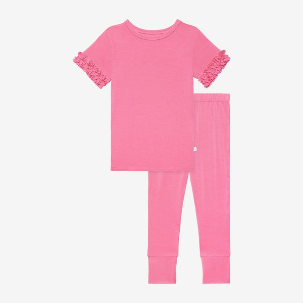 Pink Lemonade Ruffled Short Sleeve Pajamas