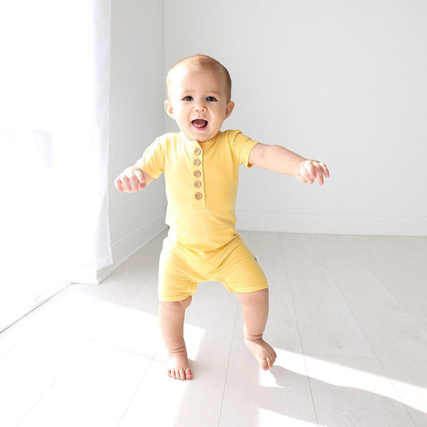 Baby on Banana Cream Short Sleeve Henley Short Romper