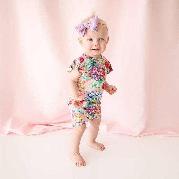 Baby on Elizabeth Ruffled Cap Sleeve Short Romper