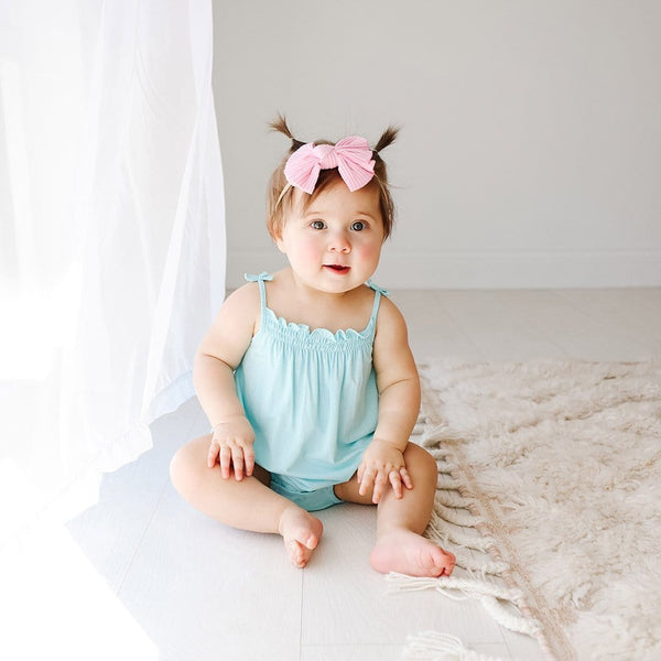 Baby on Robins Egg Sleeveless Bubble Romper