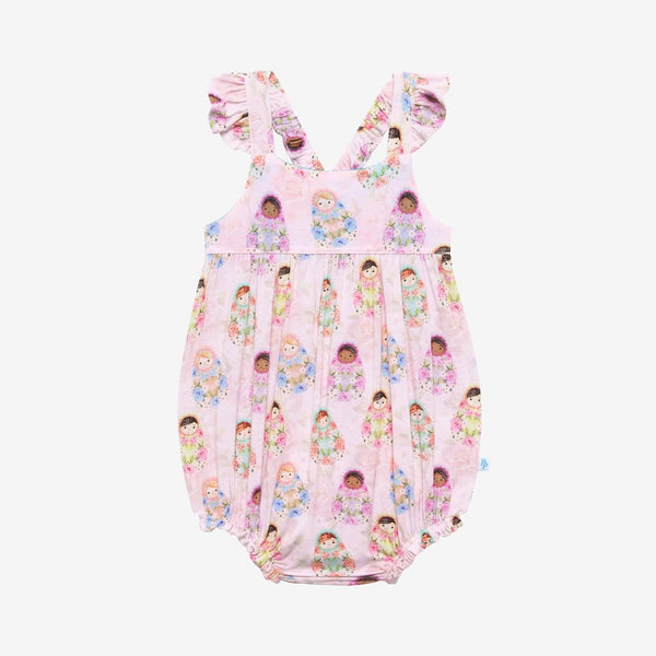 Matryoshka Pink Ruffled Cap Sleeve Bubble Romper