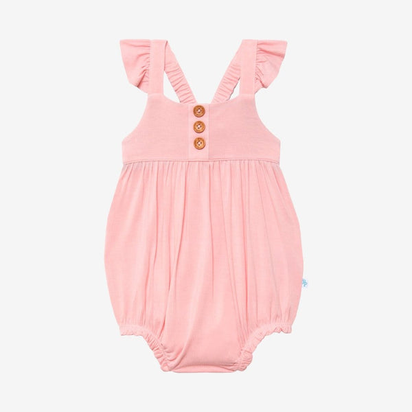 Cotton Candy Ruffled Cap Sleeve Henley Bubble Romper