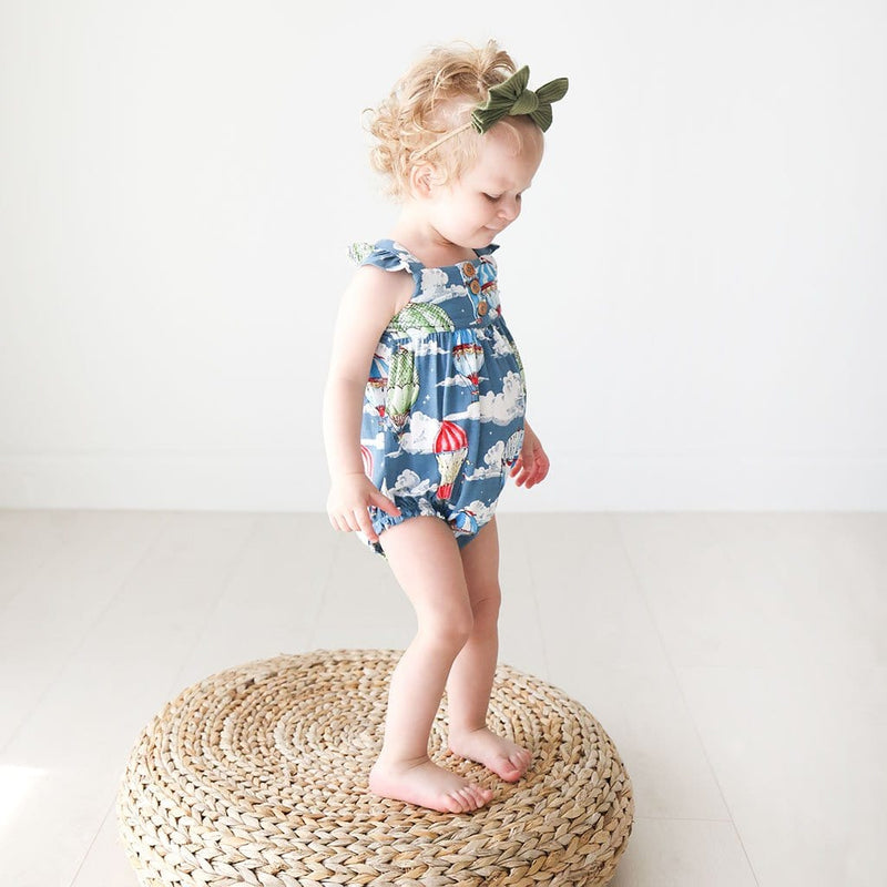 Baby on Tanner Ruffled Cap Sleeve Henley Bubble Romper