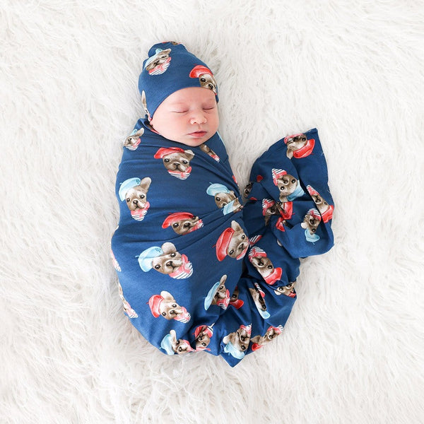 Baby on Frenchie Swaddle Beanie Set