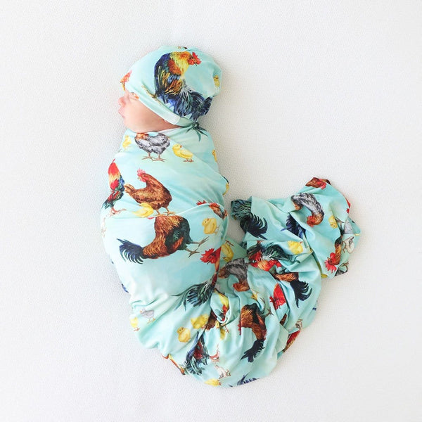 Baby on Rhett Swaddle Beanie Set with chicken print