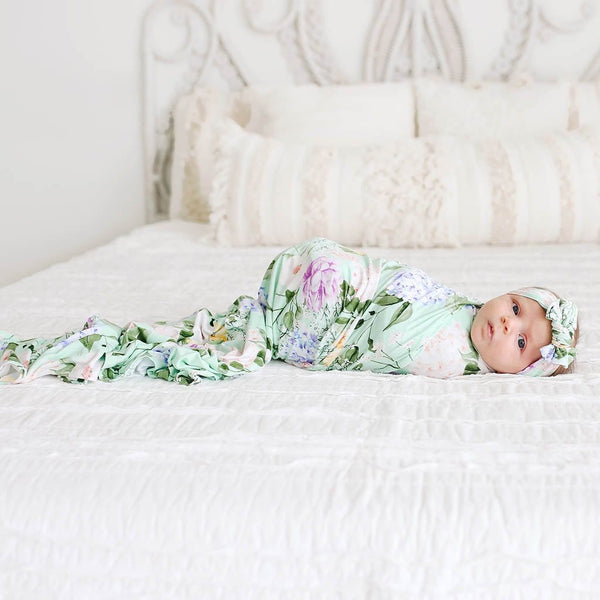 Baby on Erin Swaddle Headband Set