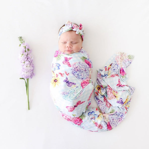Baby on Nicolette Swaddle Headband Set