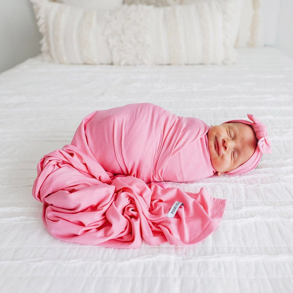 Baby on Pink Lemonade Swaddle Headband Set