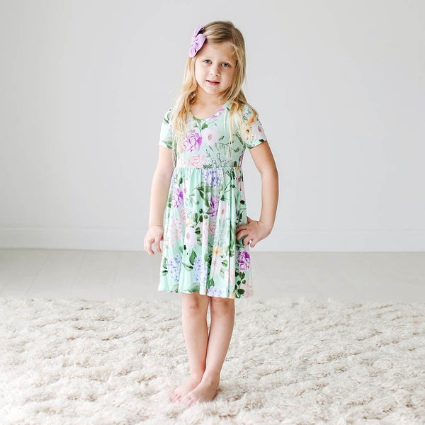 Toddler wearing Floral Erin Short Sleeve Twirl Dress
