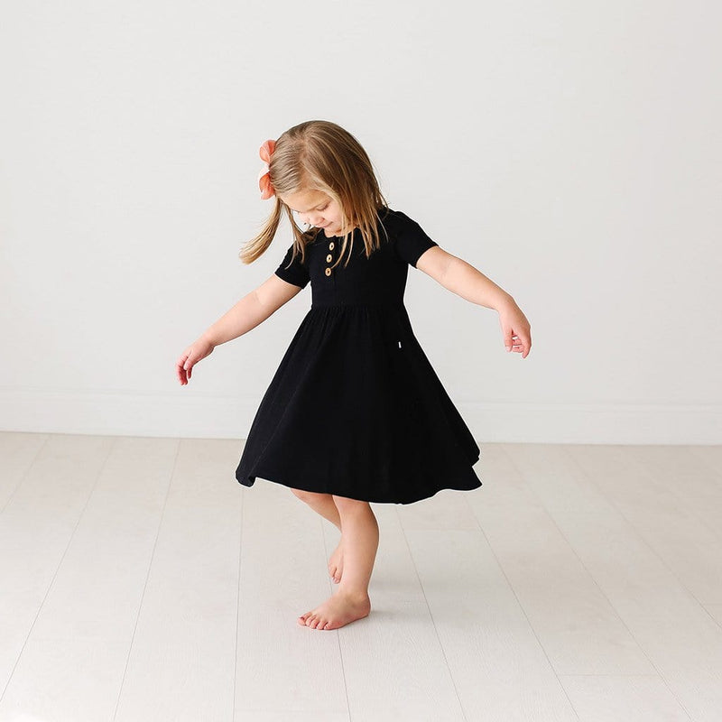 Black Ribbed Short Sleeve Henley Twirl Dress