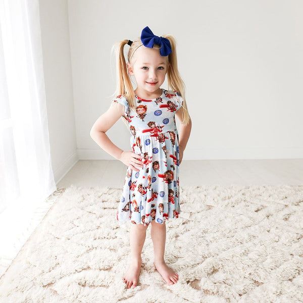 Toddler wearing Amelia Earhart Ruffled Cap Sleeve Twirl Dress