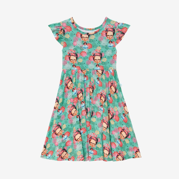 Frida Kahlo Ruffled Cap Sleeve Twirl Dress