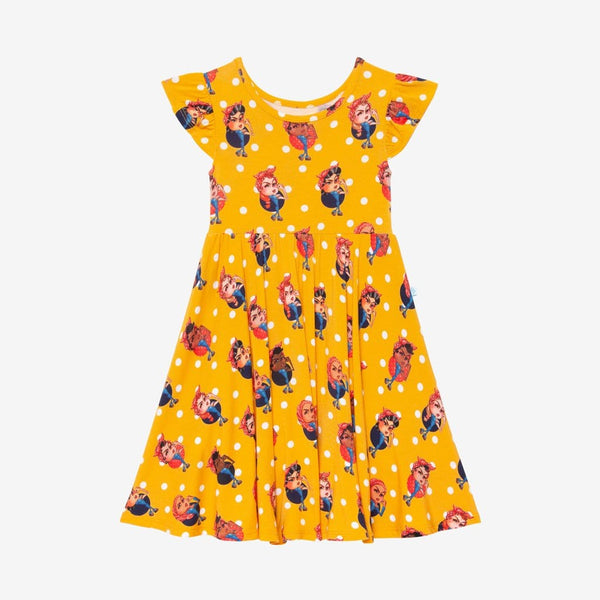 Rosie the Riveters Ruffled Cap Sleeve Twirl Dress
