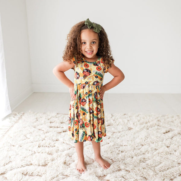 Toddler on Rosa Parks Ruffled Cap Sleeve Twirl Dress