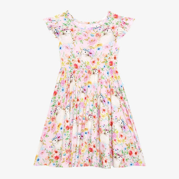 Floral Rose Ruffled Cap Sleeve Twirl Dress