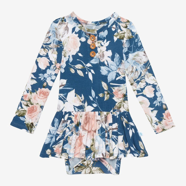 Blue Rose Long Sleeve Twirl Skirt Bodysuit