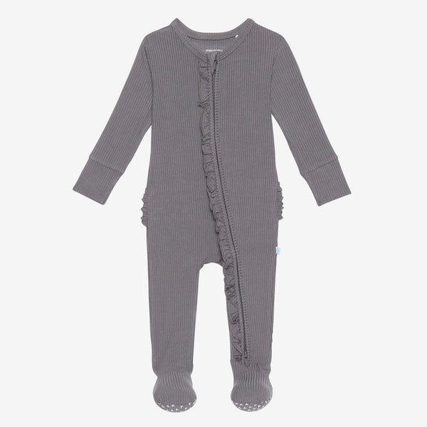 Charcoal Ribbed Footie Ruffled Zippered One Piece