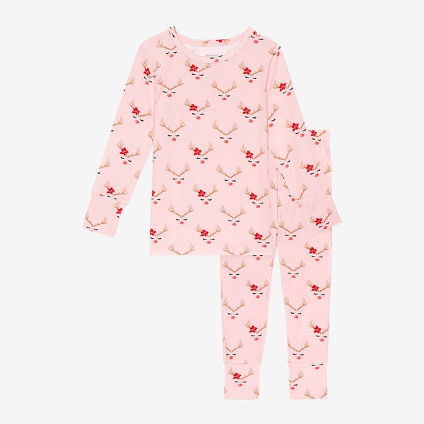 Clarice Long Sleeve Pajamas with Reindeer Print