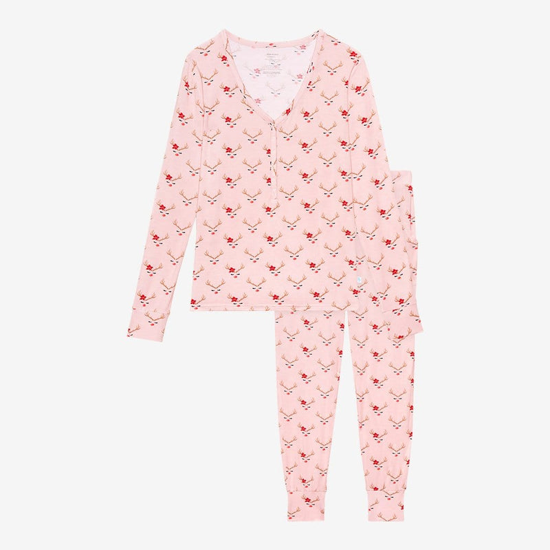 Clarice Women's Long Sleeve Loungewear with Reindeer Print