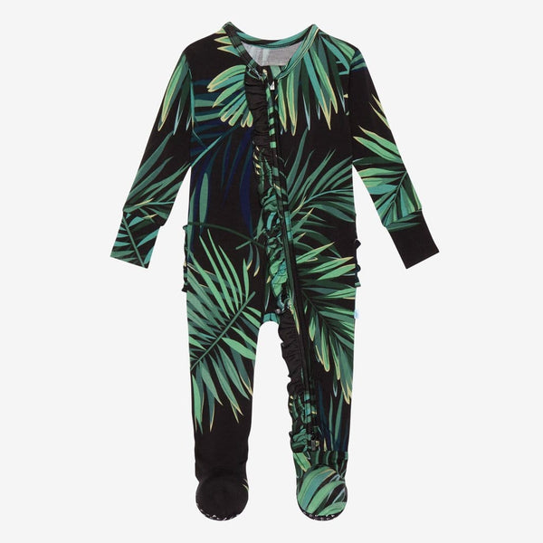 Cooper Footie Ruffled Zippered One Piece with leaf design