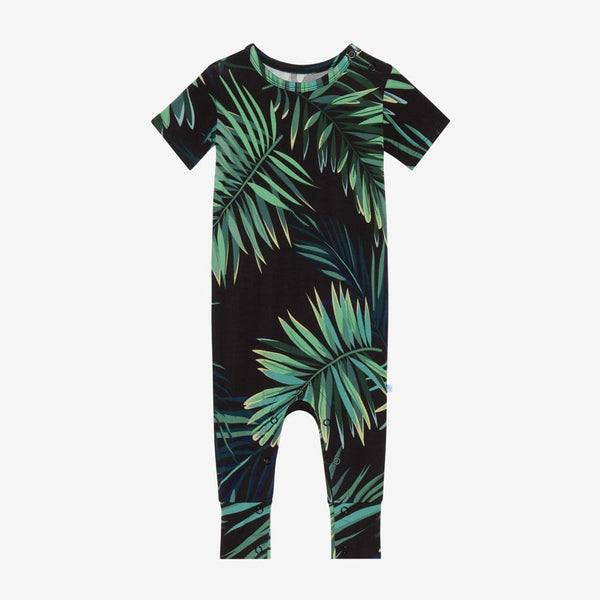Cooper Short Sleeve Romper with leaf design
