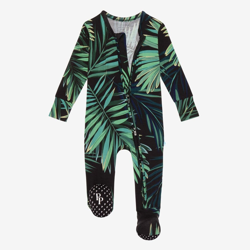 Cooper Footie Open Zipper One Piece with leaf design