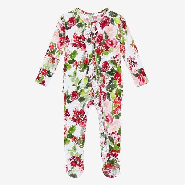 Delia Footie Ruffled Zippered One Piece