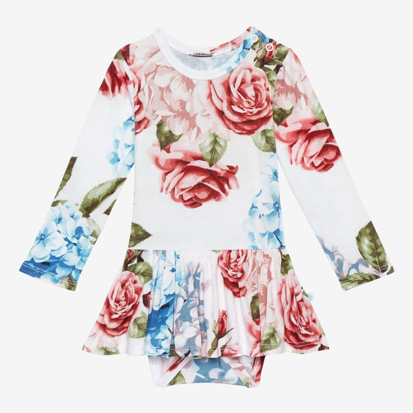 Hydrangea Long Sleeve Twirl Skirt Bodysuit