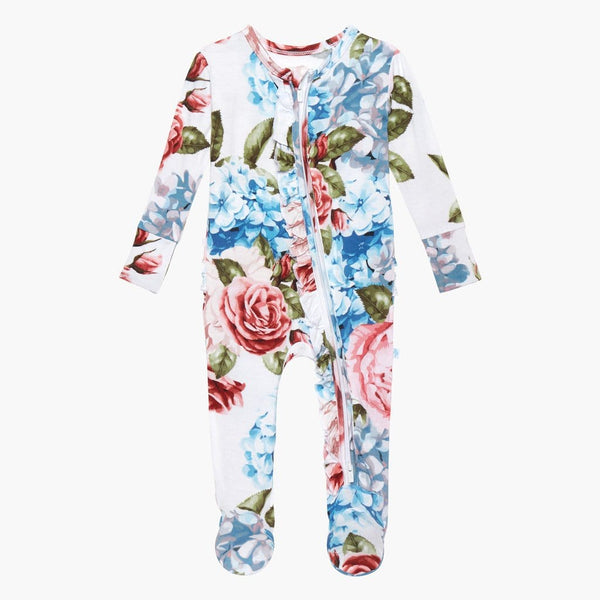 Hydrangea Footie Ruffled Zippered One Piece
