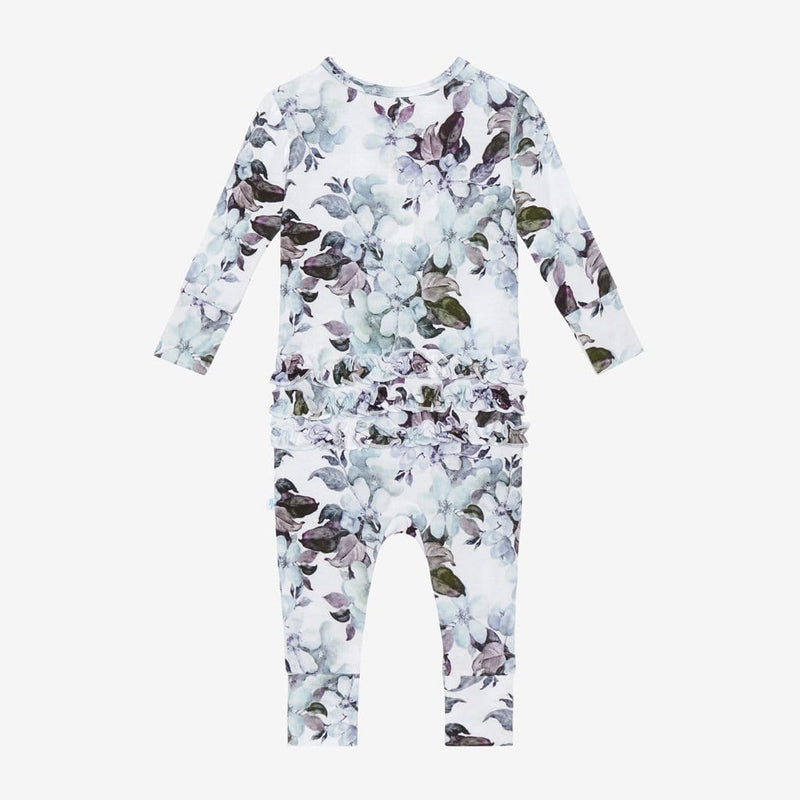 Jules Floral Long Sleeve Ruffled Henley Romper Back side