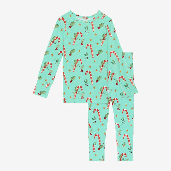 Peppermint Long Sleeve Pajamas with Candy Cane Print