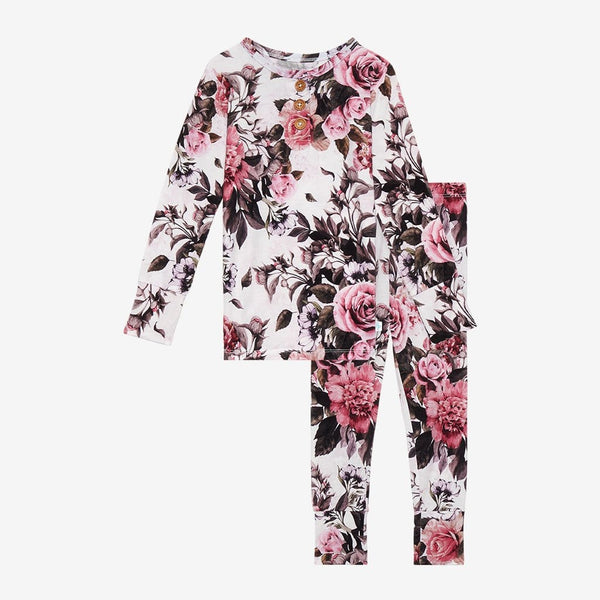 Rima Pink Floral Long Sleeve Henley Pajamas