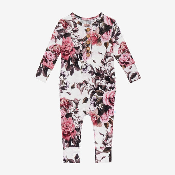 Rima Pink Floral Long Sleeve Ruffled Henley Romper