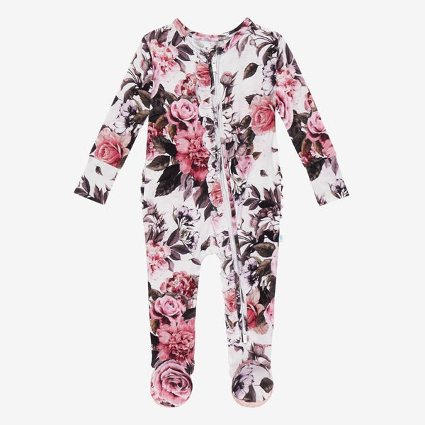 Rima Pink Floral Footie Ruffled Zippered One Piece