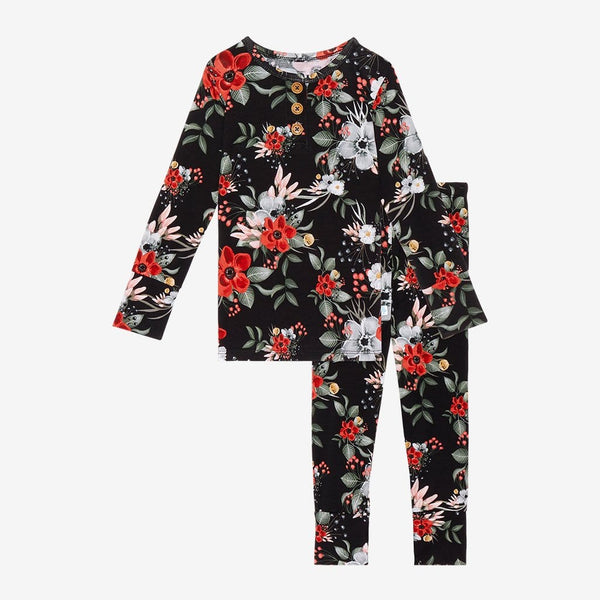 Rowena Black Floral Long Sleeve Henley Pajamas