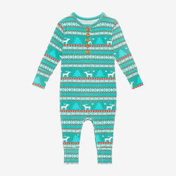 Sebastian Long Sleeve Henley Romper blue and red print