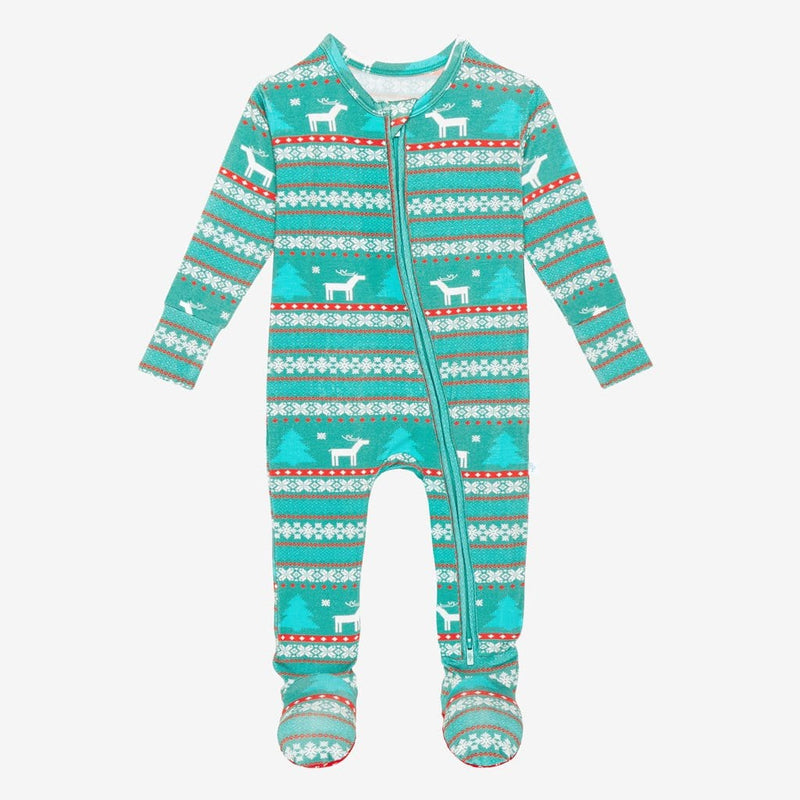 Sebastian Footie Zippered One Piece in blue and red print