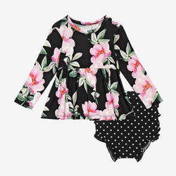 Tenni Long Sleeve Peplum Ruffled Bummie Set