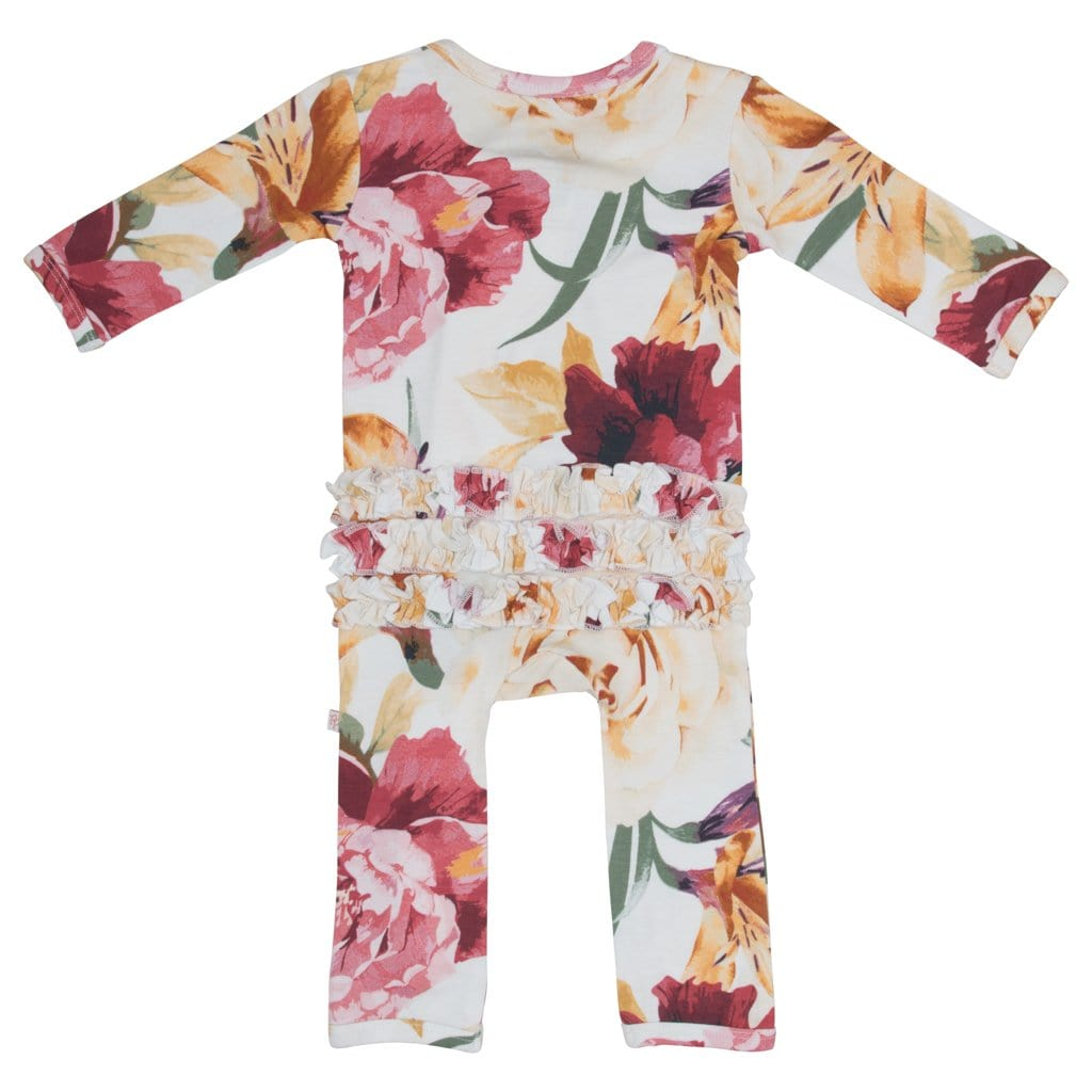 Autumn Floral Ruffled Zippered One Piece