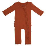 Rust Ruffled Zippered One Piece