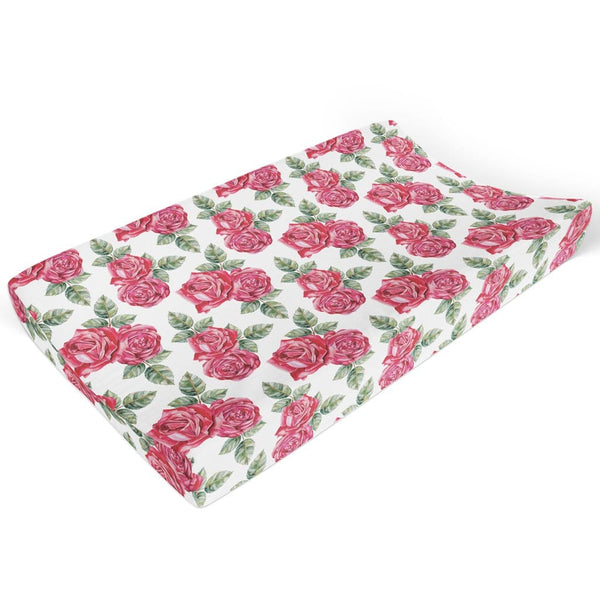 Dolce Red Rose Changing Pad Cover - FINAL SALE