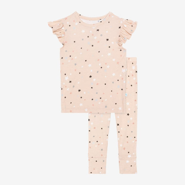 Star ruffled cap sleeve pajamas