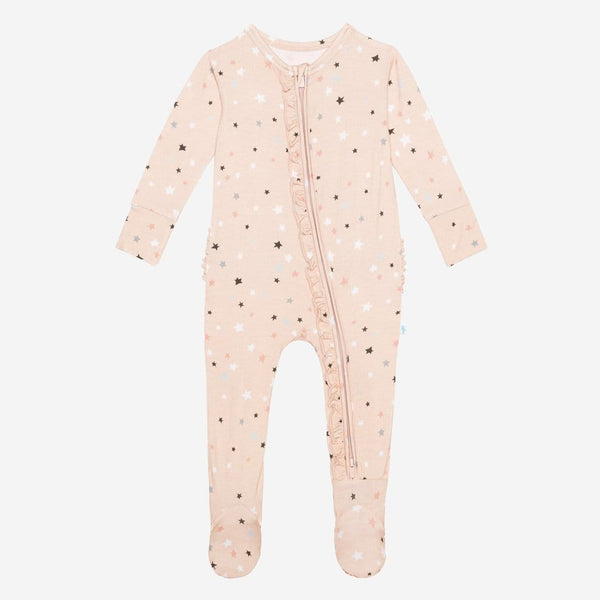 Star footie ruffled zippered one piece