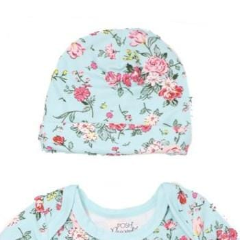 Turquoise Floral Beanie