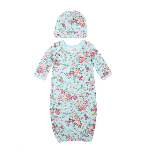 Turquoise Floral Newborn Gown with Beanie