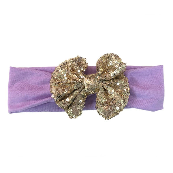 Gold/Lavender Sequin Sparkle Bow Headwrap - FINAL SALE