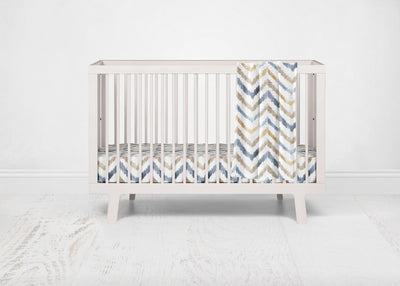 Neutral Watercolor Chevron Crib Sheet