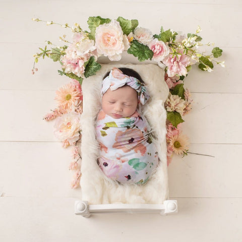 floral baby girls swaddle