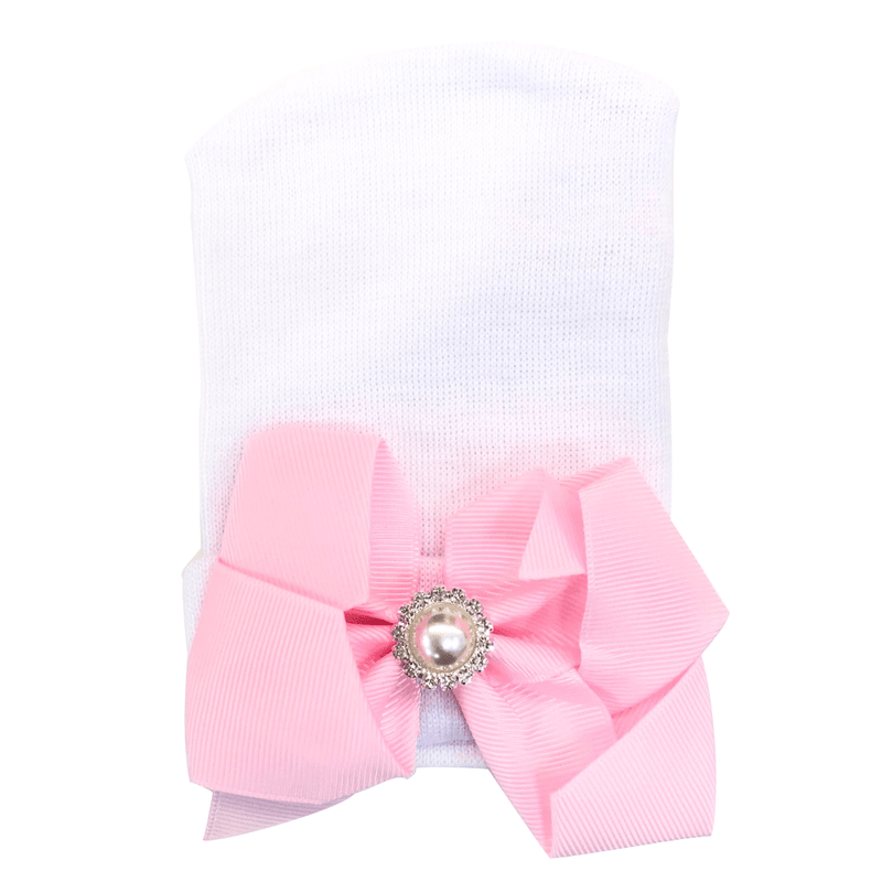 White Infant Beanie with Pink Bow - FINAL SALE